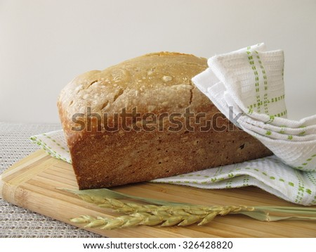 White bread with spelt flour from bread making machine - stock photo