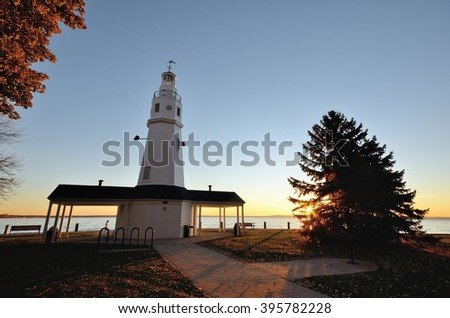 White Brick Lighthouse Located in Neenah, Wisconsin - stock photo