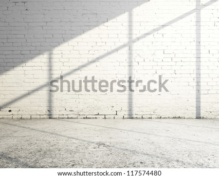 white brick room and sunlight - stock photo