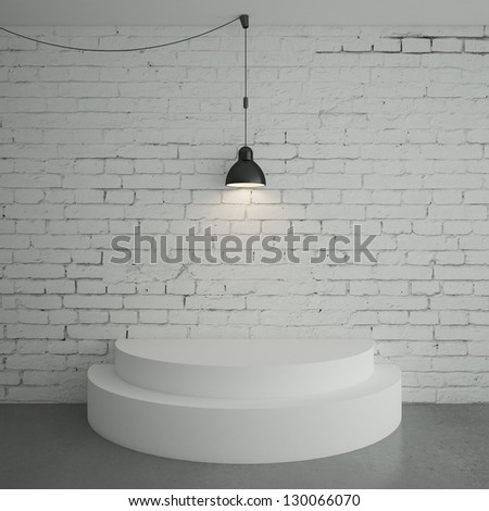 white brick room with podium - stock photo