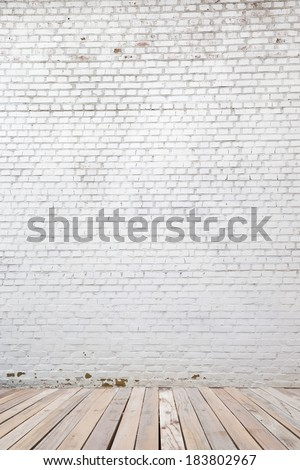 white brick wall and wood floor background