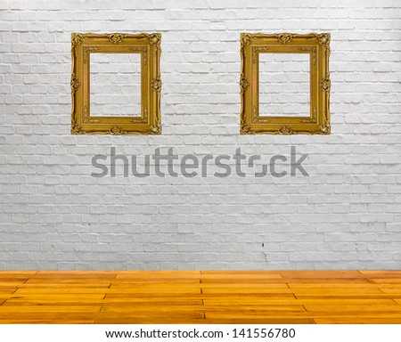 white brick wall and wood floor texture interior - stock photo