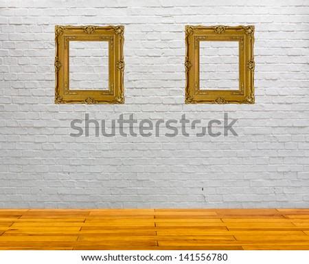 white brick wall and wood floor texture interior - stock photo