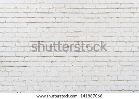White brick wall background, texture - stock photo