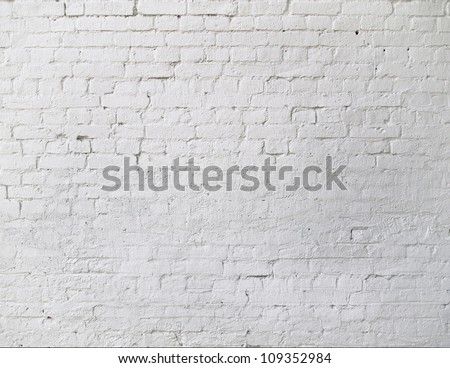 white brick wall closeup texture - stock photo
