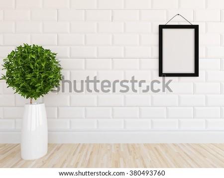 white brick wall. 3d concept - stock photo