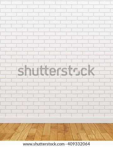White brick wall (3d Render image) - stock photo