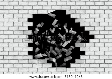 White brick wall falling down making a hole. Black background. Concept of new better world, break the stumbling block