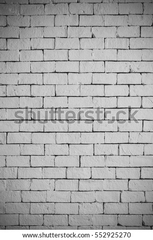 White brick wall for texture or background,with vignette and vintage toned style