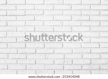 white brick wall pattern background - stock photo