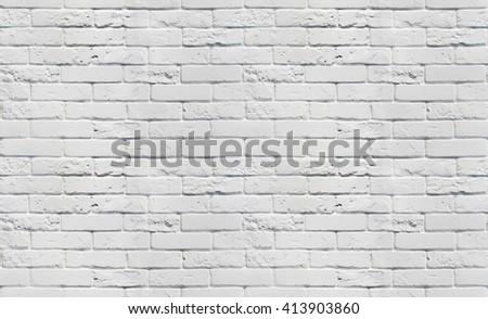 White brick wall. Seamless background pattern. White painted brickwall seamless texture. Seamless white background.  - stock photo