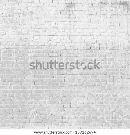 white brick wall texture grunge background - stock photo