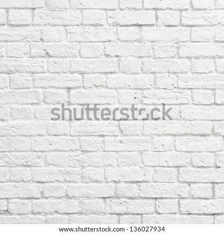 White brick wall texture or background - stock photo