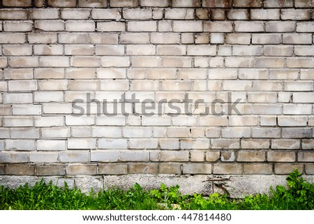 White brick wall with green grass