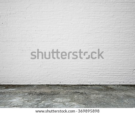 white brick wall with moosy floor indoor empty nobody - stock photo