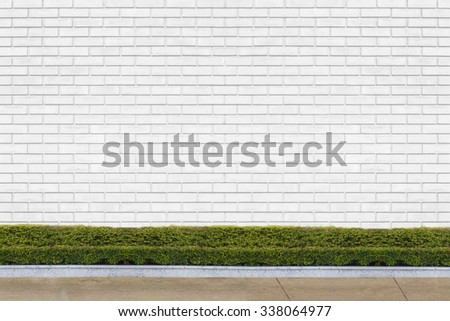 white brick wall with ornamental trees for background