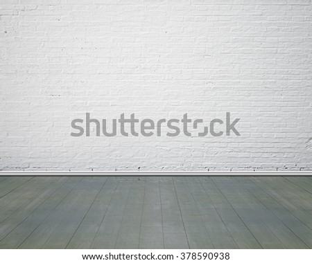 White brick wall with vintage wooden floor indoor, nobody, empty - stock photo