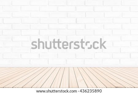 White brick walls and Plank floor. Ideas for interior and exterior decoration concepts of simplicity furniture. - stock photo