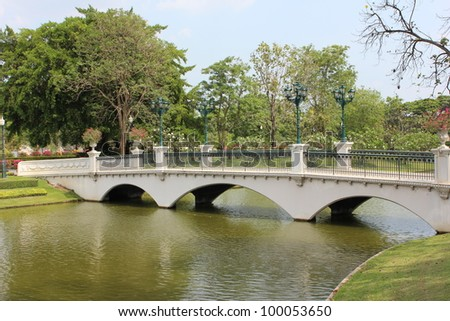White bridge in Bang Pa-In Palace at Ayutthaya , Thailand