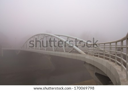 White bridge in fog
