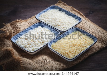 white,brow and basmati rice