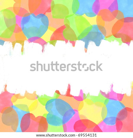 white brush on  heart  watercolor  painted  background - stock photo