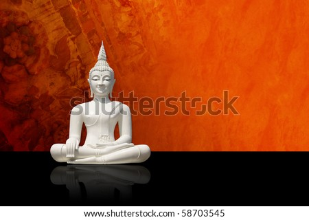 White buddha, isolated against colorful grunge background (incl. clipping path) - stock photo