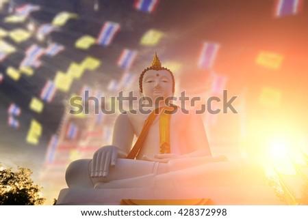 White Buddha, large, popular Buddhist shrine in Thailand. - stock photo