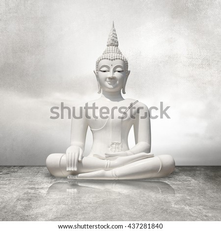 White buddha sitting in lotus position against light gray sky background