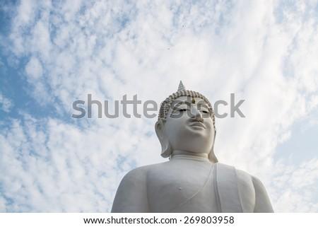 White buddha statue - stock photo