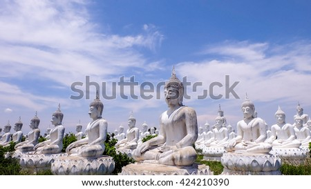 White buddha statue , Thailand - stock photo