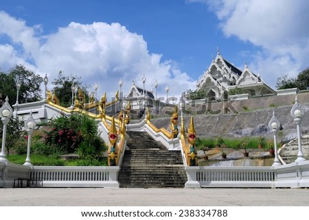 White Buddhist Temple  in Krabi, Thailand - stock photo