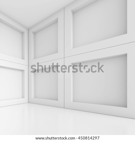 White Building Construction. Abstract Architecture Background. Modern Office Interior Design. 3d Rendering of White Minimal Technology Design