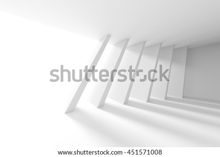 White Building Construction. Abstract Futuristic Architecture Background. Minimal Office Interior Design. Empty Room with Window and Columns. Geometric Shapes Structure. 3d Render - stock photo
