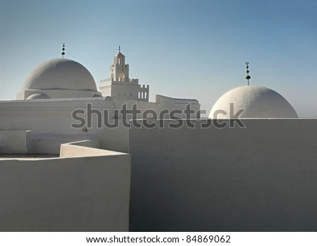 white buildings - stock photo