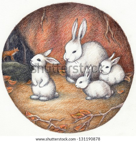 White Bunnies in the Hole - stock photo