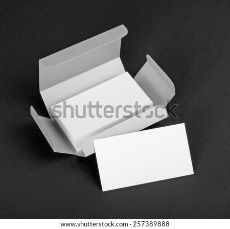 White business cards in the silvery box - stock photo