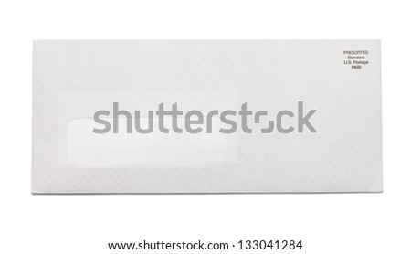 White Business Envelope with window isolated on white background. - stock photo