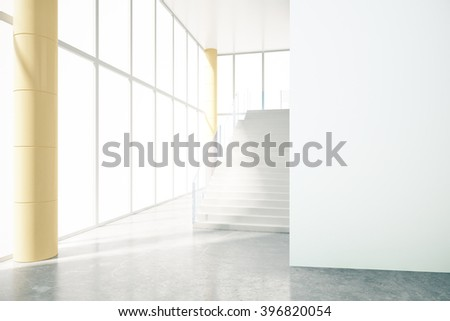 White business interior design with empty wall and flight of stairs. Mock up, 3D Render - stock photo