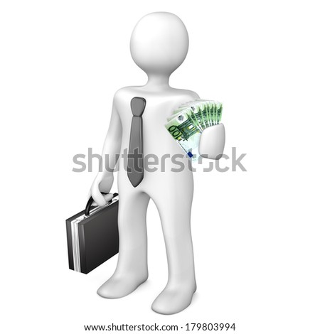 White businessman allures with money. White background. - stock photo