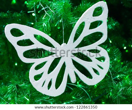 White butterfly use for christmas decoration - stock photo