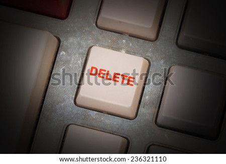 White button on a dirty old panel, selective focus - delete
