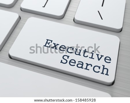 White Button with Executive Search on Computer Keyboard. Business Concept. - stock photo