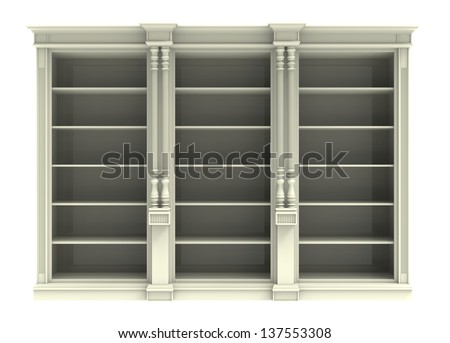 White cabinet with shelves  on a white background