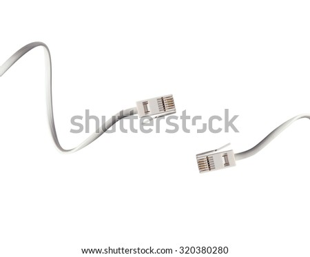 white cables isolated
