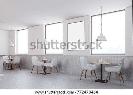 white cafe interior with large windows a poster between them and white chairs with square - Large Cafe Interior