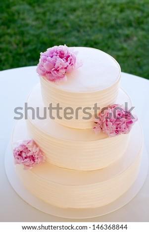 White Cake with Peonies - stock photo