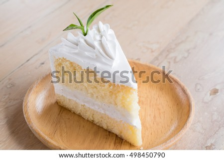 White Cake Wooden Background