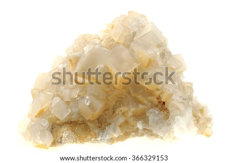 white calcite mineral isolated on the white background