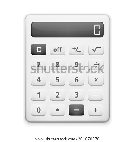 White calculactor on white background - stock photo